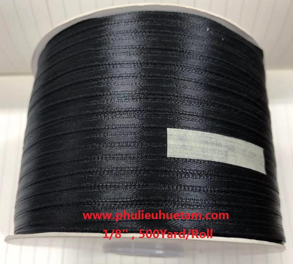 dây satin 3mm màu đen ( lá hẹ 3mm)